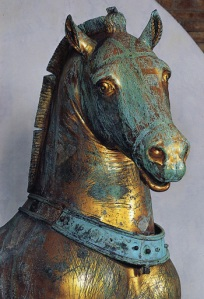 One of the Quadriga bronze horses