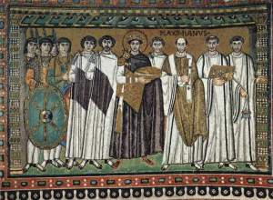 The Emporer Justinian and courtiers - Basilica of San Vitale
