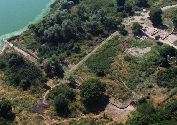 "Aerial of the Little Harbor:This aerial shows about a third of the excavated site—a section archaeologists call the ""little harbor"""