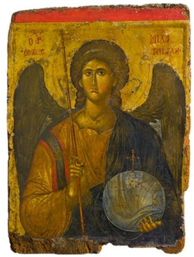 Icon with the Archangel Michael, about A.D. 1300–1350, Constantinople; tempera and gold on wood. Courtesy of the Byzantine and Christian Museum, Athens. Gift of a Greek of Istanbul, 1958